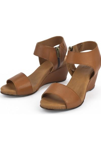 Ziya Deri Kadın Sandalet 11176 7016 Taba