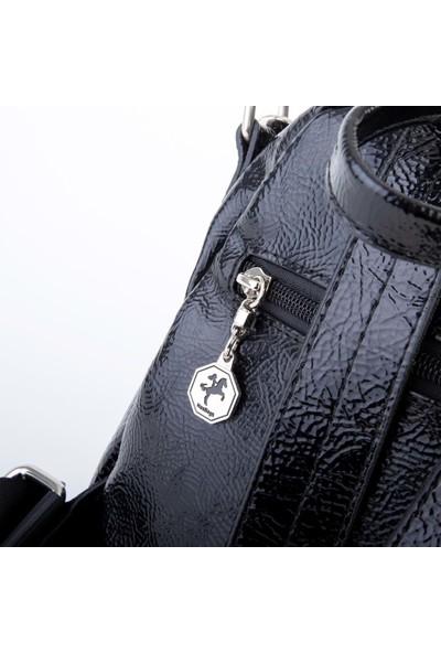 Nas Çanta 1068 Siyah Rugan/simli Sırt Çantası