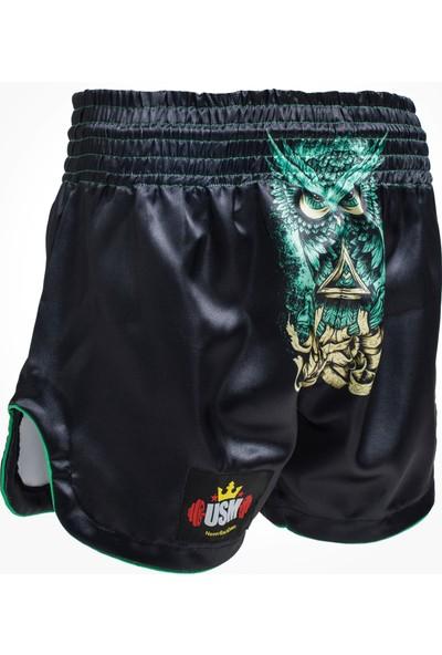 Usm Boks Kick Boks Muay Thai Siyah Baykuş Desenli Şort