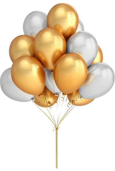 Dünya Magnet 50 Adet Metalik Altın - Gümüş Karışık Uçan Balon