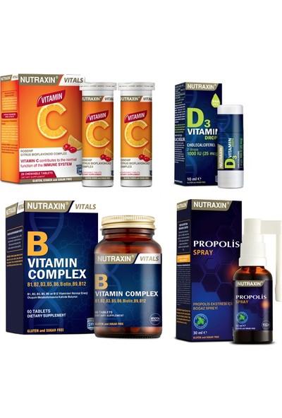Nutraxin B Vitamini 60 Tablet+C Vitamini 28 Çiğneme Tablet+Propolis Boğaz Spreyi 30ML+D3 Vitamini 10ML Damla