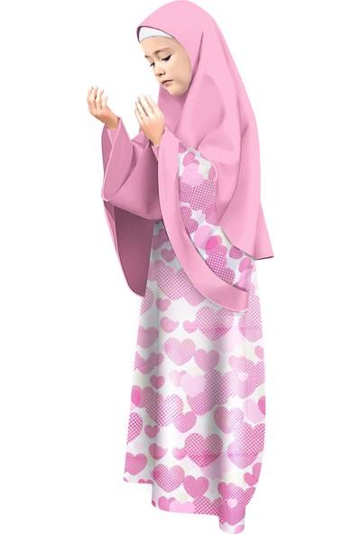 Oulabimir Kız Çocuk Namaz Elbisesi Eteği Kalp Baskılı Pembe