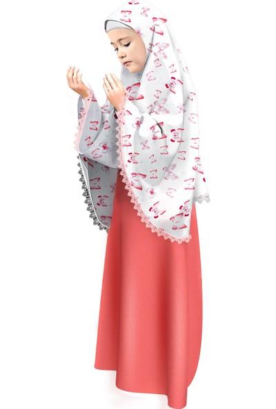 Oulabimir Kız Çocuk Namaz Elbisesi Kelebek Baskılı Dantel Detaylı