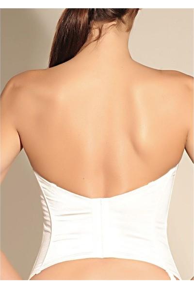 Magic Form 9265 Desenli Kumaşlı Uzun Büstiyer - Beyaz