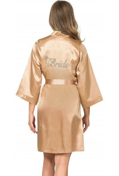 Ahu Gold Kısa Saten Bride Sabahlık
