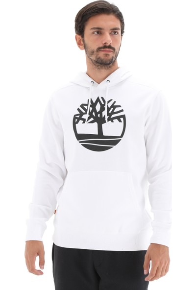 TB0A2BJHP541 Timberland Yc Core Tree Logo Pull Over Hoodie (Bru Erkek Sweatshirt Beyaz