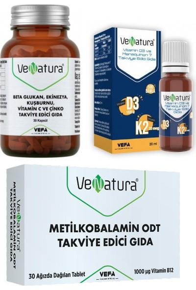 Venatura B12 Vitamini 30 Ağızda Dağılan Tablet+D3 K2 Vitamini 20ML Damla+Beta Glukan 30 Kapsül