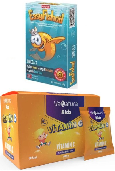 Çocuklar Için Omega 3 - 30 Çiğnenebilir Jel Form + Venatura C Vitamini 30 Saşe
