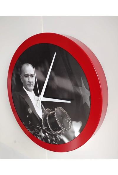 Bahat Tedarik Atatürk Simli Ofis Salon Duvar Saati Kırmızı Metal Çerçeve 36 cm Camsız