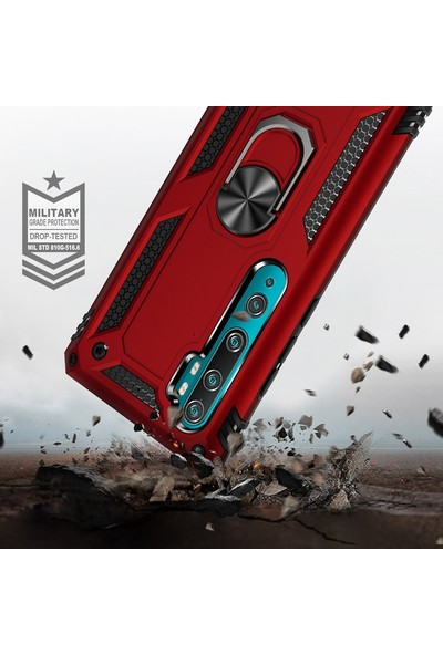 Dtech Samsung Galaxy A81 / Note 10 Lite Kılıf Tank Yüzüklü Silikon Kapak - Lacivert