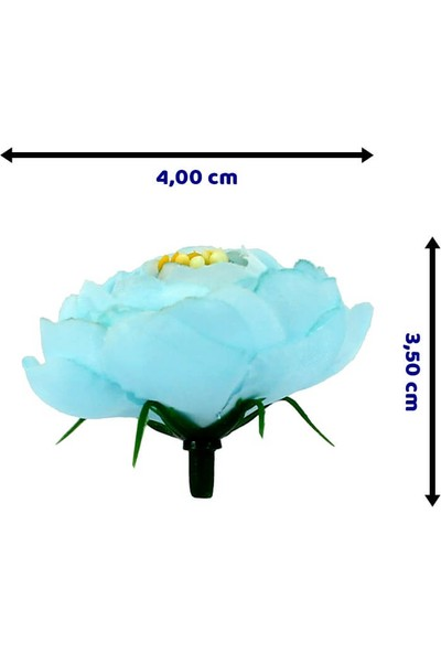 Süsle Bebek Parti Yapay Çiçek 4 cm Şakayık Gül Kafası - 10 Adet Mavi