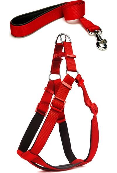 Markapet Köpek Göğüs Tasma Seti 60-75 cm Kırmızı+ Gezdirme Kayışı