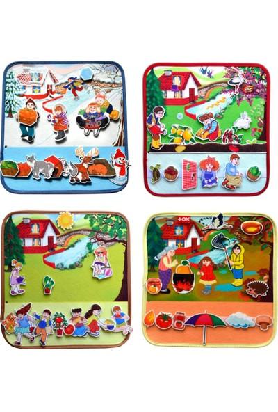 Tox 4 Set - 50 Parça Tox Dört Mevsim Keçe Cırtlı Aktivite Sayfası - Çocuk Etkinlik , Eğitici Oyuncak