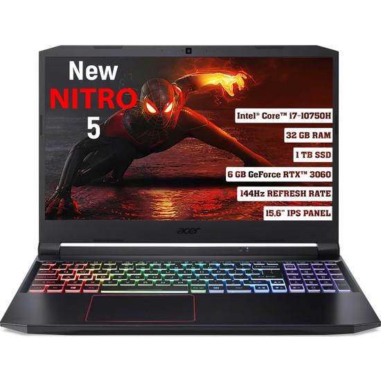 "Acer Nitro 5 Intel Core I7 10750H 32GB 1TB SSD RTX3060 Freedos 15.6"" FHD Taşınabilir Bilgisayar NH.QB2EY.003"