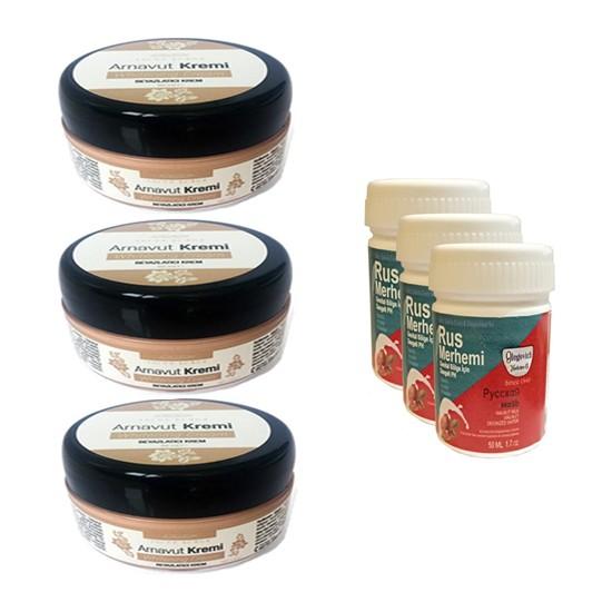 Three Brand Whitening Cream 50 ml Arnavut Kremi Aklık Kremi 3 Adet + Rus Merhemi Genital Bölge Kremi 50 ml 3 Adet