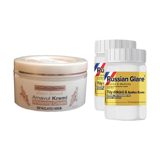 Three Brand Whitening Cream 100 ml Arnavut Kremi Aklık Kremi + Russıan Glare Tüy Dökücü Azaltıcı Merhem 50 ml 2 Adet