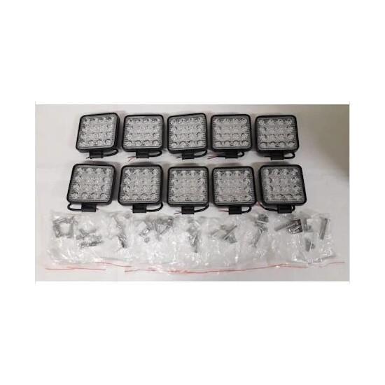 Parstek Off Road Sis Farı - Lambası 16 LED Kare Çalışma Lambası (10 Adet)