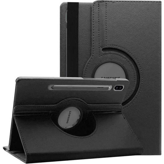 Canpay Samsung Galaxy T870 Kılıf (Tab S7) Standlı Pu-Leather Desing Tablet Kılıfı Siyah