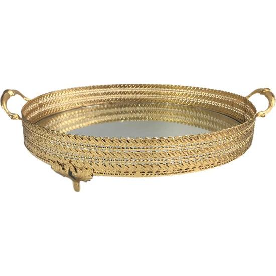 Çırpan Ev Zeyve Altın Yuvarlak Tepsi 35 cm