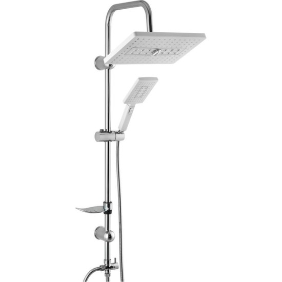 Lüks Krom Yağmurlama Tepe Robot Duş Seti Zümrüt Beyaz