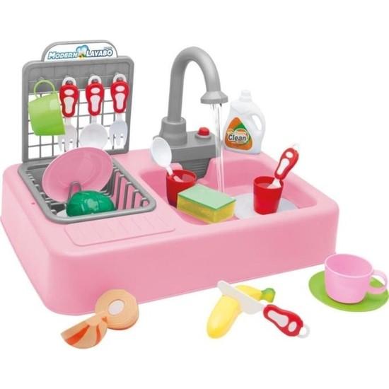 Kayyum Oyuncak Modern Mutfak Lavabo Seti Pilli Sulu Çeşmeli Oyuncak Set 7020P Pembe