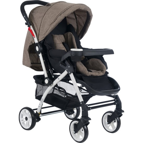 Cansın Mini Active Beyaz Çift Yönlü Bebek Arabası-Kahverengi 98246-1