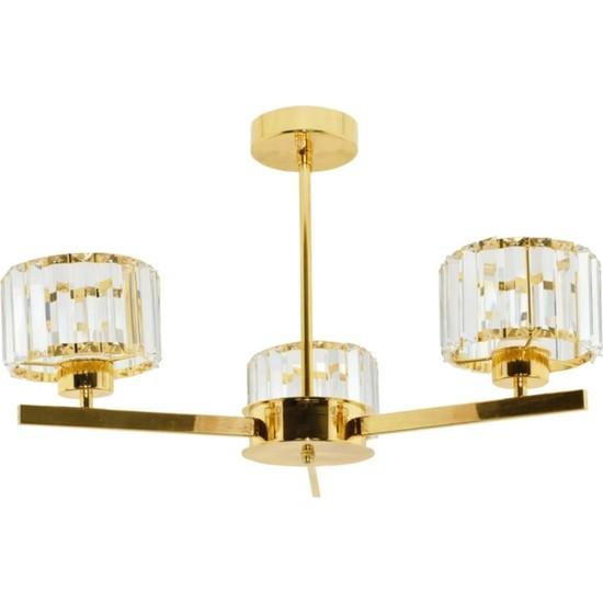 Erko Aydınlatma Luxury Modern Kristal Taşlı 3 Kollu Gold Sarkıt Avize