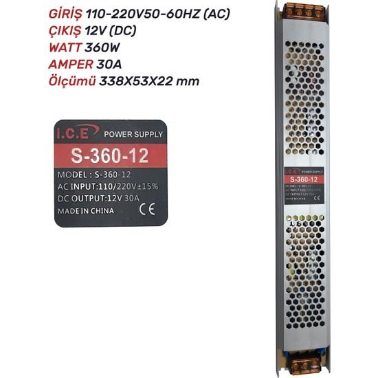 Ice 30A Slim LED Trafosu (360W) 12V