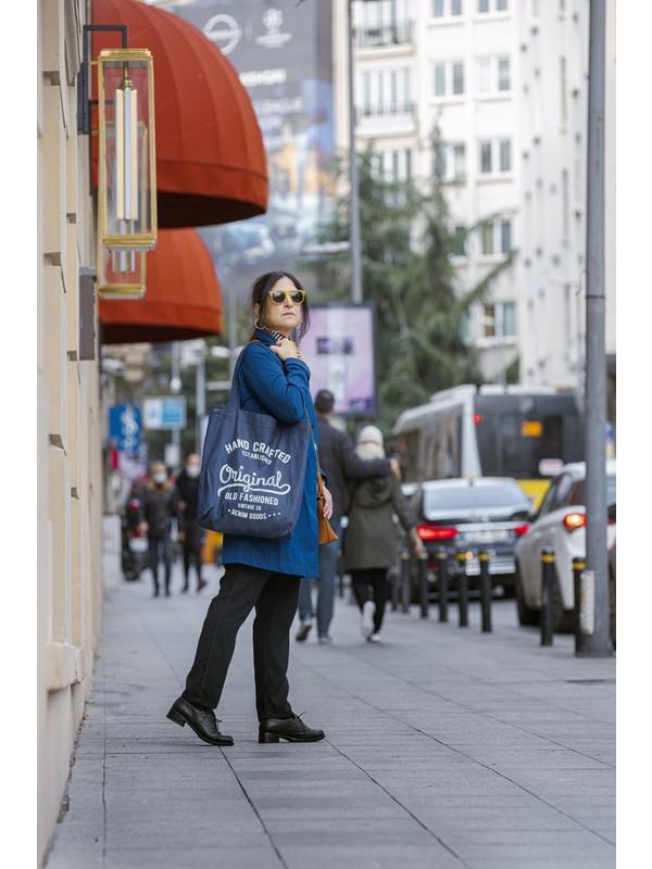 Baag Istanbul Tasarım Vintage Baskılı Büyük Boy Denim Omuz Çantası