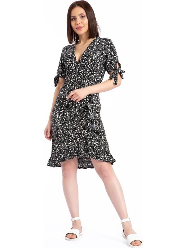 Giysa Kadın Mini Çiçek Desen Siyah Elbise 3719