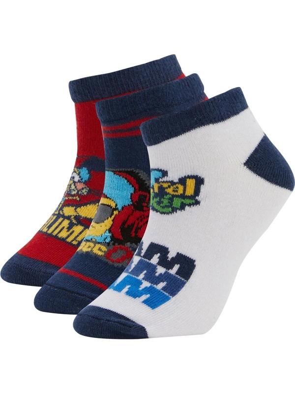 DeFacto Erkek Çocuk Kral Şakir Lisanslı 3'lü Patik Çorap