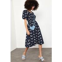 Xhan Lacivert Çiçek Desenli Yakalı Elbise 1YXK6-44870-14