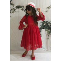 MNK Kırmızı 6 Yaş Şapkalı Dantelli Kız Çocuk Elbise
