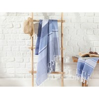 English Home Royal Stripe Pamuk Peştamal 95 x 165 cm Lacivert- Mavi