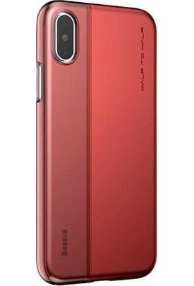 Vendas Apple iPhone x Baseus Half To Half Serisi Transparant Çift Tasarımlı Kılıf Kırmızı