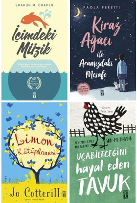 Genç Timaş 4 Kitap Set 5. 6. 7. 8. Sınıflar Ortaokul Okuma Kitapları / Içimdeki Müzik - Kiraz Ağacı ile Aramızdaki Mesafe - Limon Kütüphanesi - Uçabileceğini Hayal Eden Tavuk