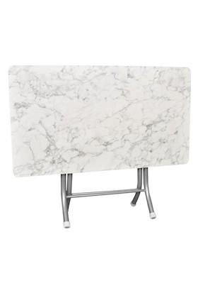 Lovera Beyaz Mermer 60X110 Katlanır Masa