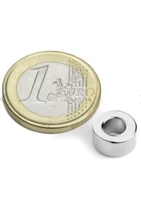 Dünya Magnet 10 Adet Çap 10 mm x Del.çapı 5 mm x Kalınlık 5mm Süper Güçlü Delikli Neodyum Mıknatıs