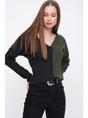 New Laviva V Yaka İki Renkli Uzun Kollu Triko Antrasit Kadın Bluz