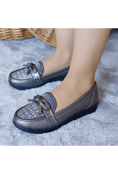 Ventes Kadın Platın Taşlı Hafıf Dolgu Topuklu Ayakkabı