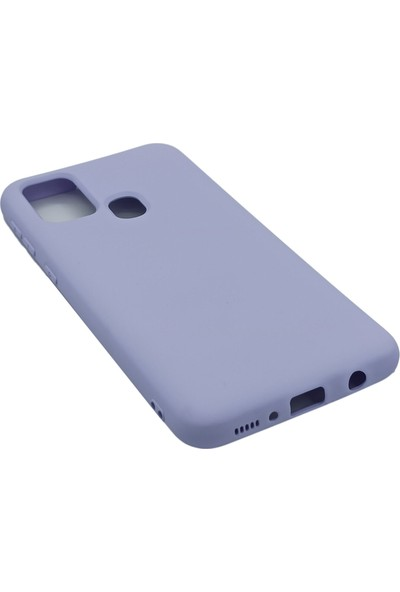 Merwish Case Samsung M21 Içi Kadife Soft Lansman Silikon Kılıf Lila