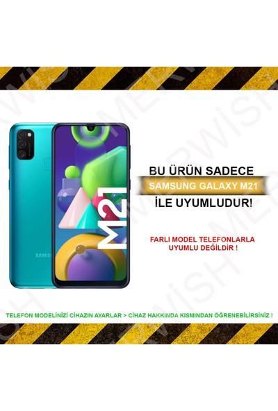 Merwish Case Samsung M21 Içi Kadife Soft Lansman Silikon Kılıf Turuncu