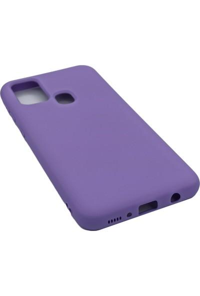 Merwish Case Samsung M21 Içi Kadife Soft Lansman Silikon Kılıf Mor