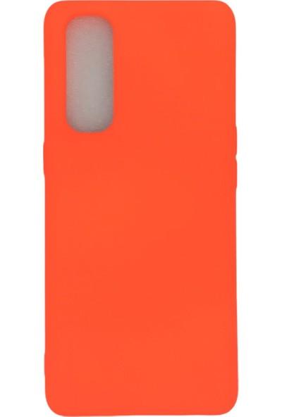 Merwish Case Oppo Reno 4 Pro Içi Kadife Soft Lansman Silikon Kılıf Neon Turuncu