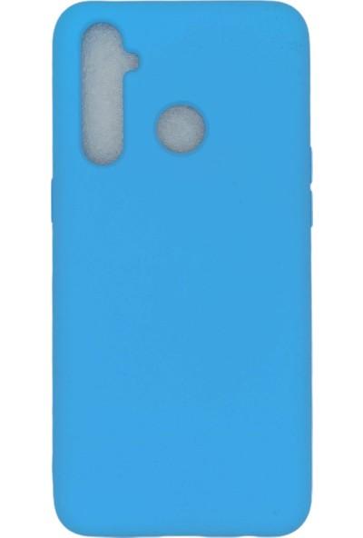 Merwish Case Oppo Realme 5 Pro Içi Kadife Soft Lansman Silikon Kılıf Mavi