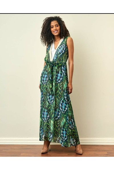 Yeşil Desenli Şifon Elbise 13496