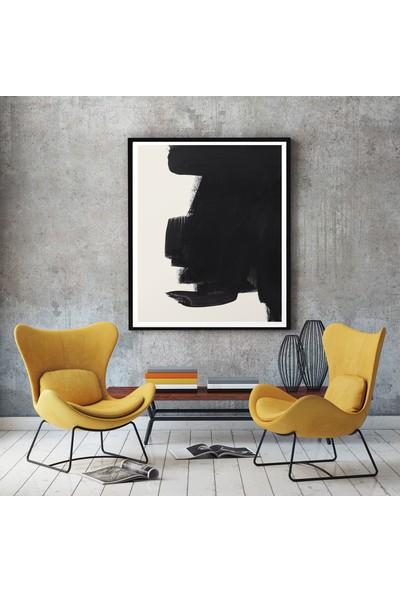 Alsa Modern Siyah Çerçeveli Soyut Dekoratif Tablo