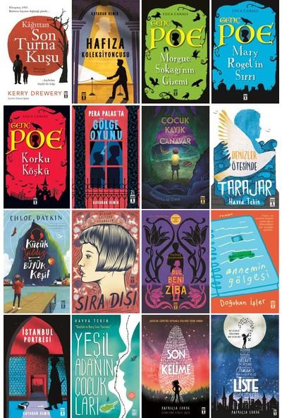Genç Timaş 16 Kitap Set 5. 6. 7. 8. Sınıflar Ortaokul Okuma Kitapları / Kağıttan Son Turna Kuşu - Genç Poe - Son Kelime - Liste - Çocuk Kayık ve Canavar - Yeşil Ada'nın Çocukları