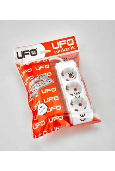 Ufo Elektrik 2 M Beyaz Renkli Üçlü Topraklı Kablolu Topraklı Grup Priz