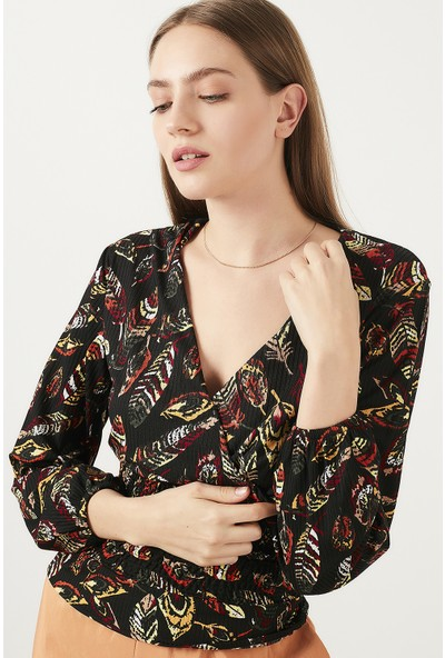 Lela Baskılı V Yaka Bluz Kadın Bluz 5202953